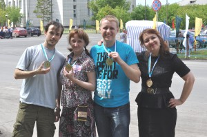 Победители Семен Мальцев, Оксана Понкратьева, Никита Ганус и Ирина Суховольская.