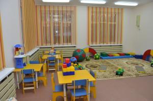 Одна из игровых комнат нового детского сада.