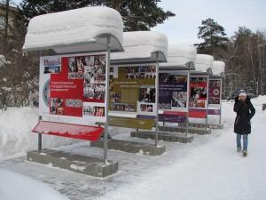 Выставка возле НГУ после сильного снегопада, утро 22 января.