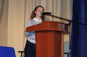Дарья Королева на презентации проекта.