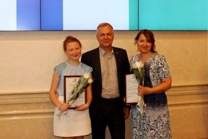 Елена Золотухина и Ирина Суховольская с министром культуры НСО Игорем Решетниковым.